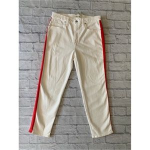 Madewell Stovepipe Jeans White Tuxedo Striped 30